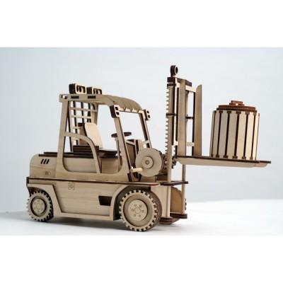 Конструктор 3D деревянный подвижный Lemmo Погрузчик - ПК-1