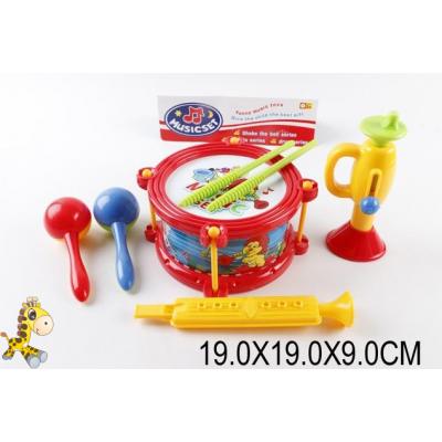 Муз.инструменты (60шт/2) маракеши, флейта, труба, барабан, в пакете 19*19*9см