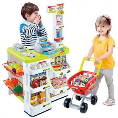 Детский игровой набор Магазин с продуктами и тележкой