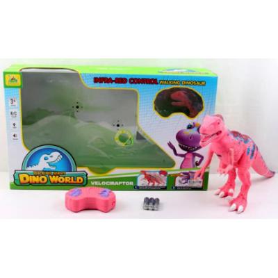 Динозавр Велоцираптор радиоуправляемый Dino World розовый