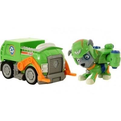 Игрушка Щенячий патруль (Paw Patrol) — Рокки воздушный спасатель с рюкзаком трансформером и машинка Мусоровоз