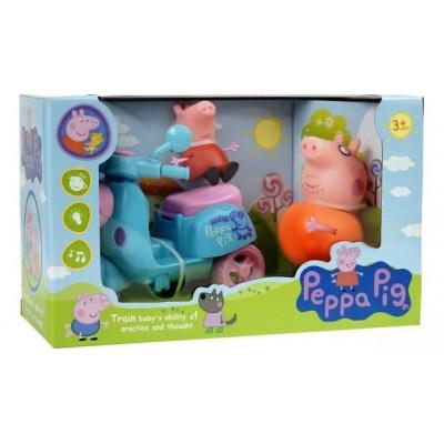 Набор игрушек Свинка Пеппа с папой Свином и мопедом.